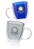 10 oz. Crystallite Double Wall Glass Coffee Mugs | EDD057