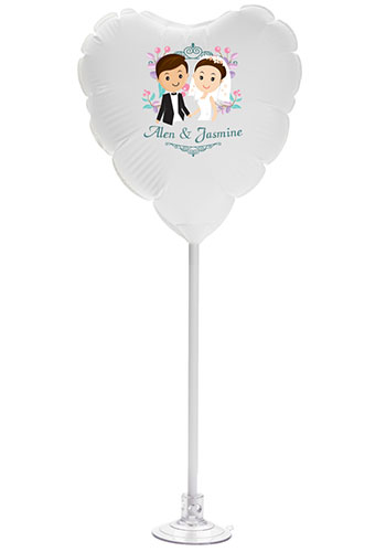 11 Inch Heart Balloons with Suction Base |PB11HB2