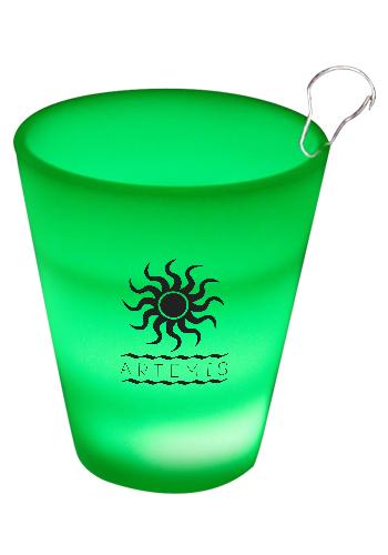 Green LED Shot Glass Medallions