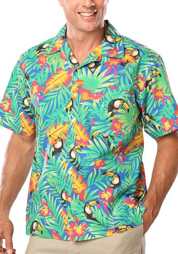 Blue Generation Adult Toucan Print Camp Shirts | BGEN3101