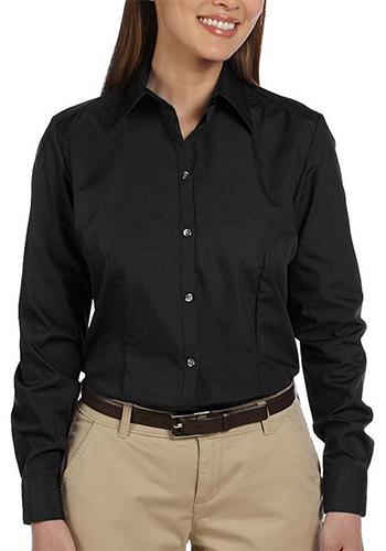 Van Heusen Women's Silky Black Poplin Dress Shirts | 13V114