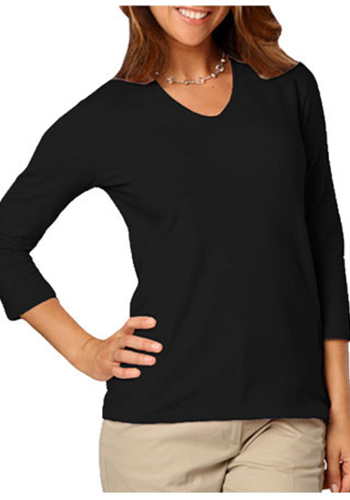 Ladies 3/4 Sleeve V-Neck Tee Shirts