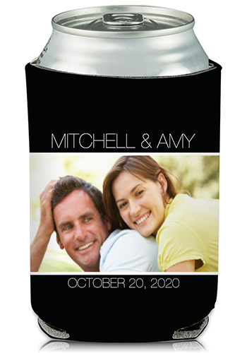 Foam Beverage Holder Custom Wedding Can Cooler Dallas Skyline Personalized Beer Can Holder Wedding Favor