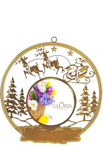 Santa Sled Bright Brass Holiday Ornaments   SISLXM10