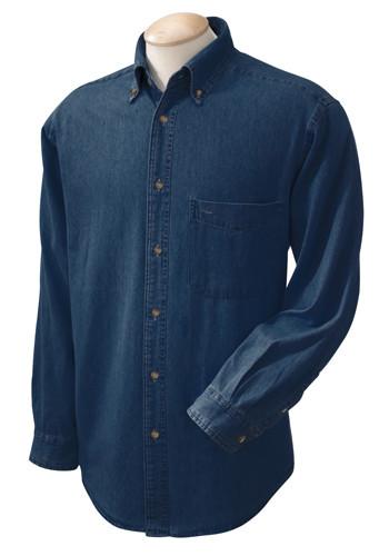 Harriton Mens Long Sleeve Denim Shirts | M550