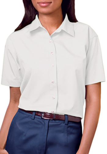 Blue Generation Ladies Short Sleeve Stain Release Poplin Shirts   BGEN6216S