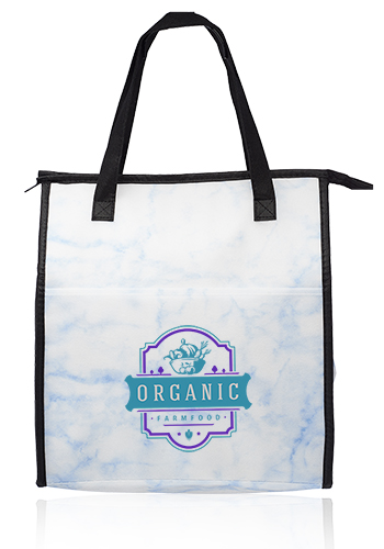 Marble Insulated Tote Bags with Pocket | TOT252