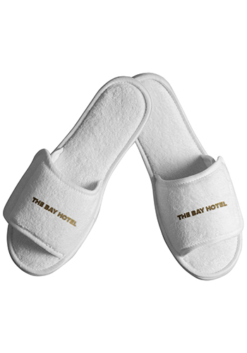 Terry Open Toe Slippers with Velcro Closure Large | TCN32LG