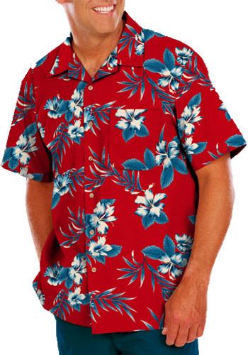 Wholesale Adult Hibiscus Print Camp Shirts | BGEN3106