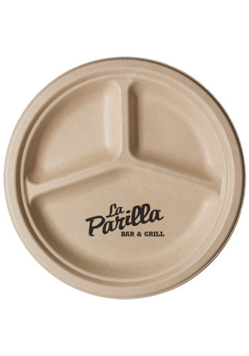 10 Inch Kraft 3-Compartment Compostable Paper Plate | TSCPK3C10