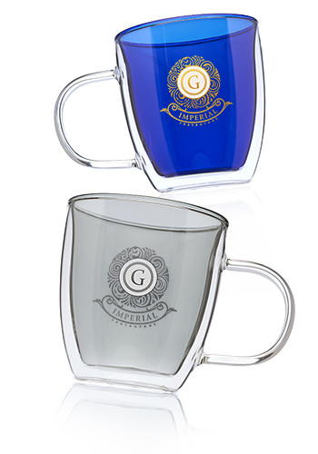 10 oz. Crystallite Double Wall Glass Coffee Mugs | EDD057