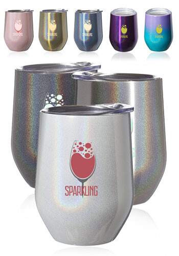 11 oz. Vacuum Iridescent Stemless Wine Glasses with Lid | SW46I
