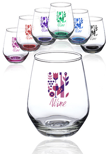 Customized 12 oz. Silicia Stemless Wine Glasses