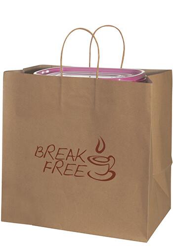 Custom 12 x 12 Inch Natural Kraft Shopping Bags