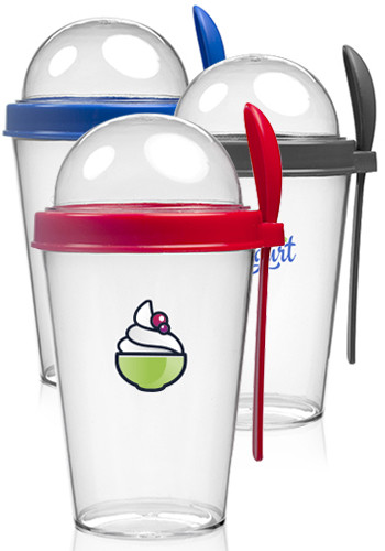Snack-To-Go Cups with Lid and Spoon
