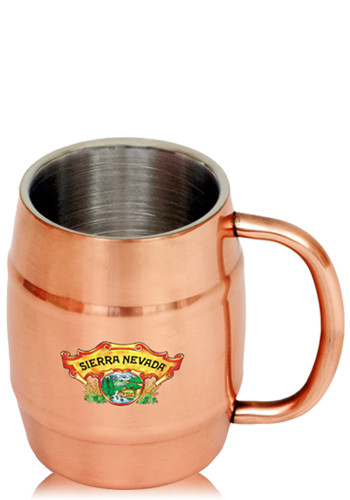 Customized 14 oz Ankara Copper Coated Stainless Steel Moscow Mule Barrel Mugs