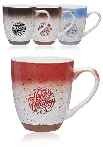 Custom 15 oz. Fade and Speckle Bistro Ceramic Mugs