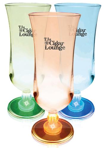 Promotional 15 oz. Lighted Stem Plastic Hurricane Glasses