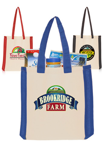 Customized Side Stripes Cotton Tote Bags