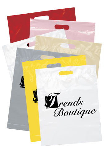 Personalized Recyclable Die Cut Handle Plastic Bags