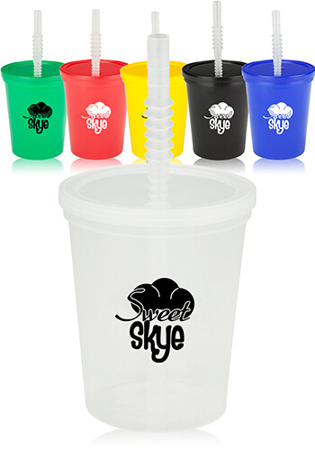 Plastic Stadium Cups with Lid and Straw