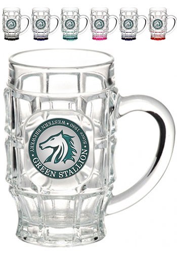 Dimpled Glass Beer Mugs