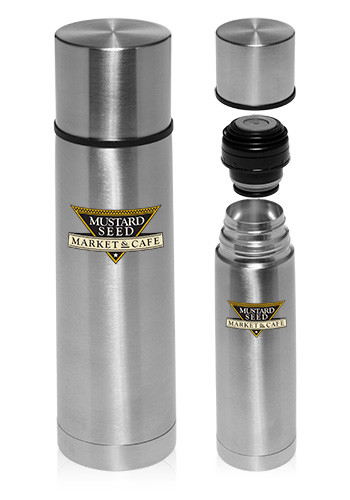 Bulk 18 oz. Cylindrical Stainless Steel Vacuum Flasks