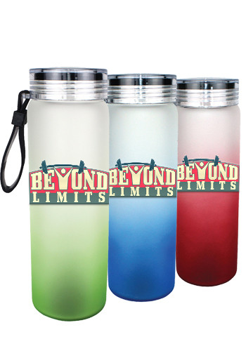 Customized 20 oz. Halcyon Frosted Glass Bottles with Varnish