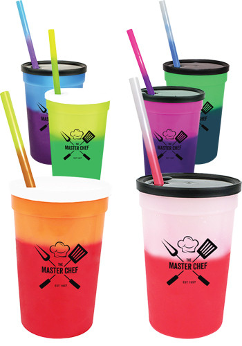 Stadium Cups with Straw and Lid Set