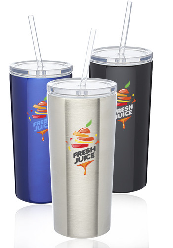 Promotional 16 oz. Mira Stainless Steel Tumblers with Straw