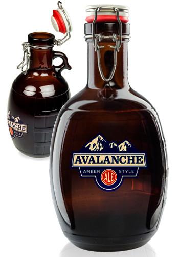 2L Amber Glass Barrel Growler   1068943