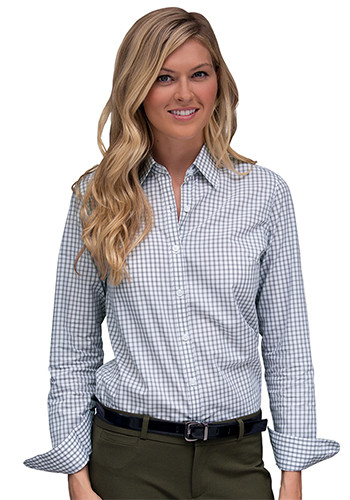Women's Easy-Care Gingham Check Dress Shirts | 1108