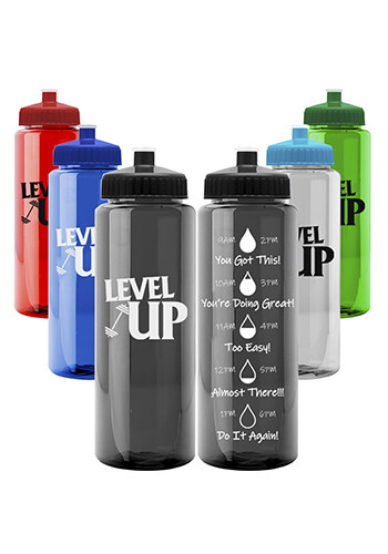 Customized 32 oz Guzzler Trans Color Water Bottles