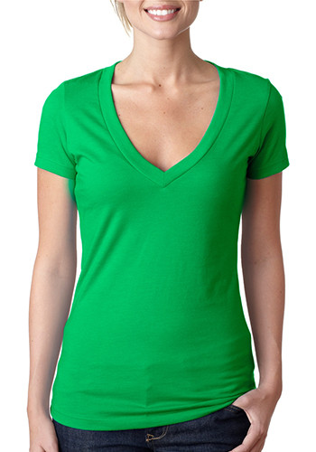 Ladies Deep V Crew Neck Tees