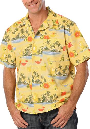 Blue Generation Adult Cocktail Print Camp Shirts | BGEN3104