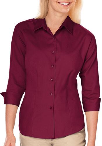Blue Generation Ladies 3/4 Sleeve Fine Line Twill Dress Shirts   BGEN6330