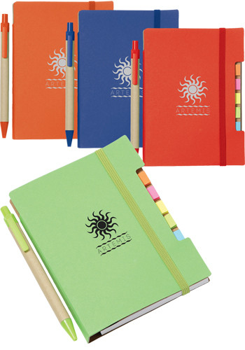 4 inch x 6 inch Recycled Sticky Notebooks with Pen   SM3548