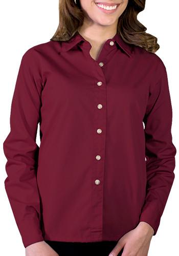 Blue Generation Ladies Long Sleeve Stain Release Poplin Dress Shirts | BGEN6216