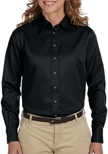 Harriton Ladies' Stain-Release Long-Sleeve Shirts   M500W