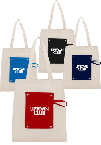 Customized 6 Oz Cotton Canvas Packable Snap Totes