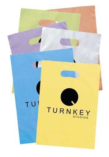 Promotional Die Cut Frosted Brite Plastic Bags