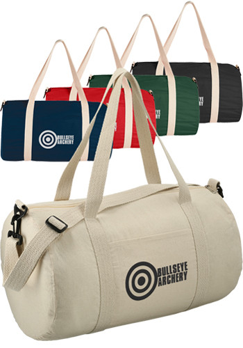 Promotional Barrel 18 Inches 5Oz Cotton Canvas Duffel Bags