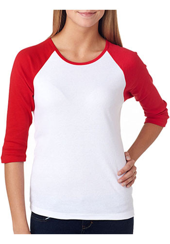 Bella Canvas Ladies' Baby Rib 3/4-Sleeve Contrast Raglan T-Shirts | B2000
