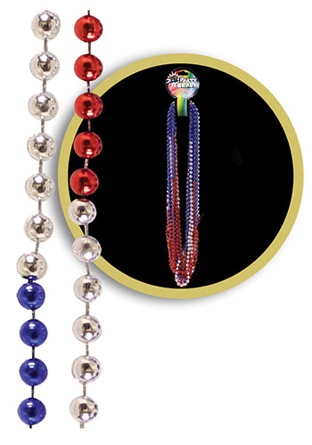 Custom Red-Silver-Blue Bead Necklaces