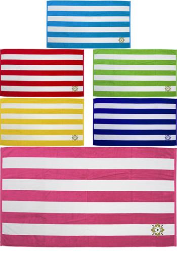 Cabana Stripe Terry Velour Beach Towels