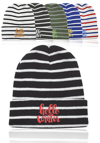 Caribou Striped Knitted Beanies | BNY002