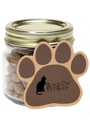 Bulk Cat Treats in Half Pint Jar with Paw Magnet
