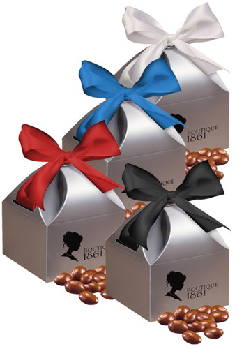 Personalized Chocolate Covered Almonds in Silver Gift Box