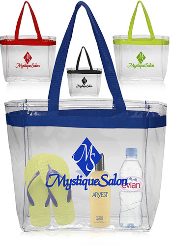 Color Handles Clear Plastic Tote Bags | TOT132