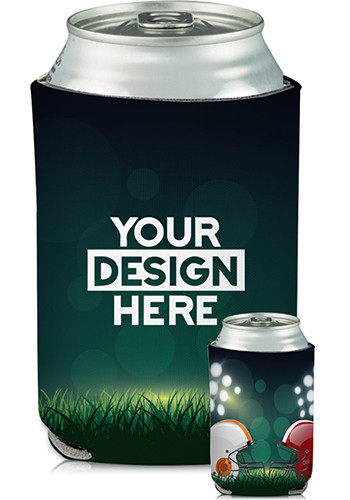 Promotional Collapsible Can Cooler Head to Head Football Print